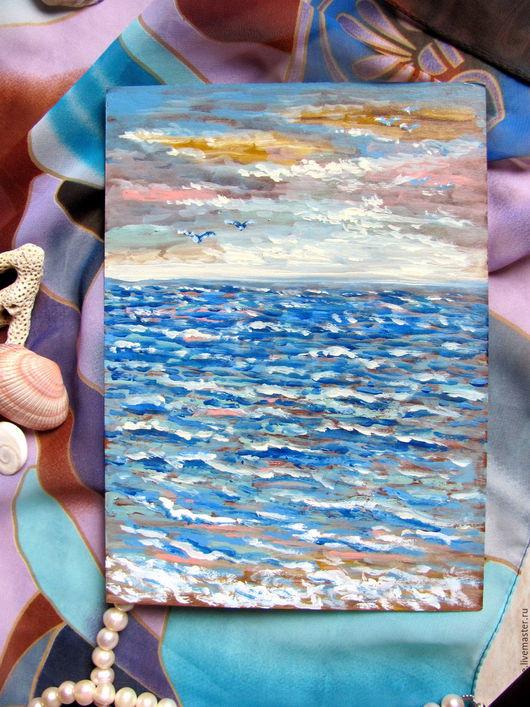 Картина «Вечернее море» (Акрил) Катерины Аксеновой.картина море,картина чайки,картина солнце,картина морской пейзаж.картина море,картина чайки,картина солнце,картина морской пейзаж.Голубой белый сини