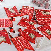 Сувениры и подарки handmade. Livemaster - original item Christmas tree garland gnomes scandi decoupage style. Handmade.