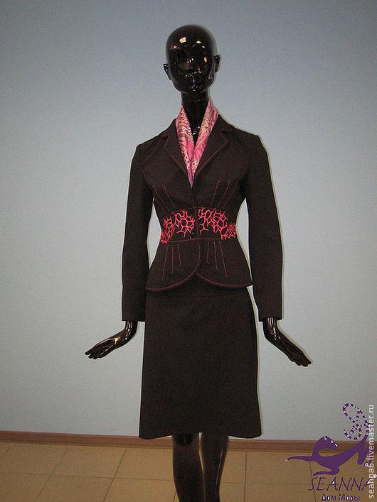"""Костюмы ручной работы. Ярмарка Мастеров - ручная работа. Купить Вышитый костюм """"Паутинка Коралл"""" - вышивка. Можно сшить костюм или выш. Handmade."""
