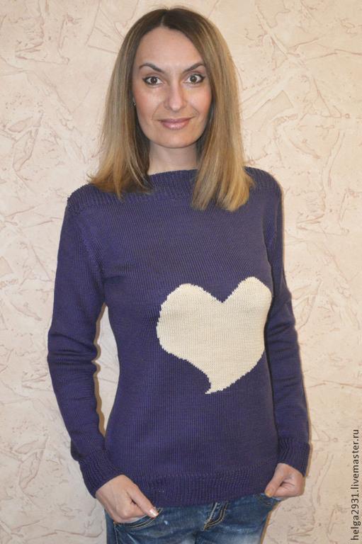 """Кофты и свитера ручной работы. Ярмарка Мастеров - ручная работа. Купить Джемпер """"Сердце"""". Handmade. Тёмно-фиолетовый, женский джемпер"""