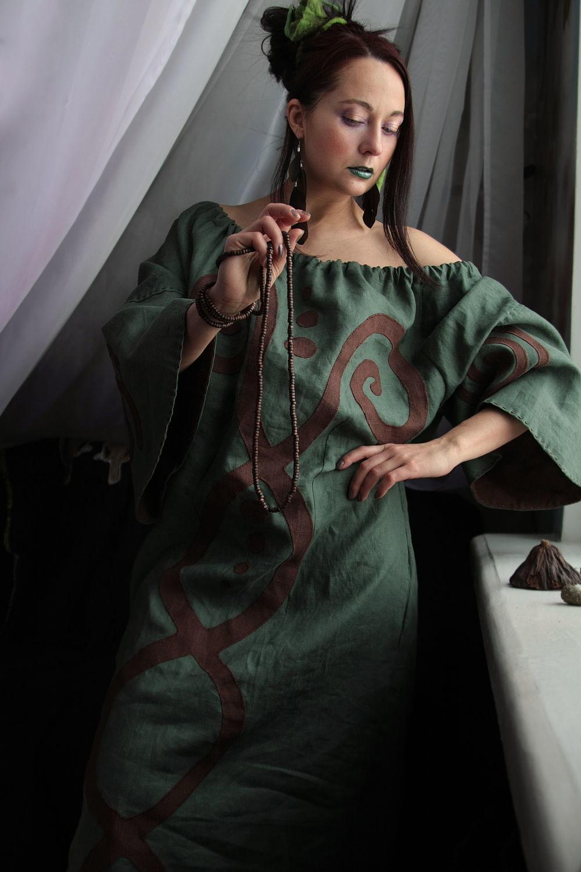 Dark Green Linen Dress «Yerba», Dresses, Rostov-on-Don,  Фото №1
