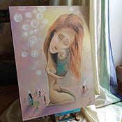 """Картины и панно ручной работы. Ярмарка Мастеров - ручная работа картина маслом """"Материнство"""". Handmade."""