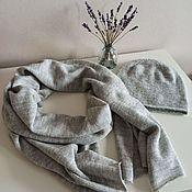 Аксессуары handmade. Livemaster - original item Knitted stole and beanie hat set grey. Handmade.