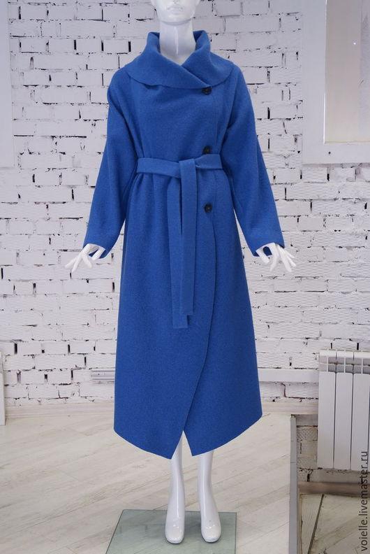 Пальто из валяной шерсти лоден, шерсть 100%, пальто демисезонное женское, пальто на весну, пальто на осень, пальто без подкладки, пальто синее васильковое, пальто с хвостами