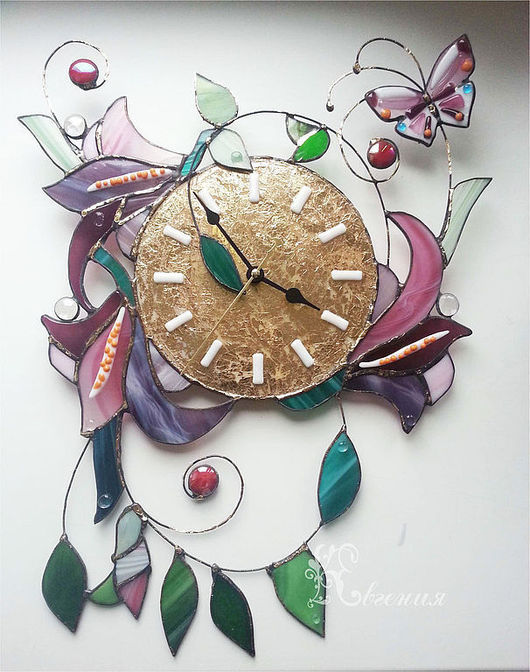 """Часы для дома ручной работы. Ярмарка Мастеров - ручная работа. Купить Часы """" Цветы в золоте"""". Handmade. Витражные часы"""