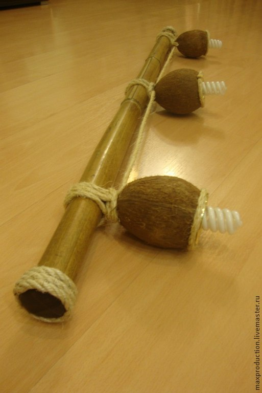 """Освещение ручной работы. Ярмарка Мастеров - ручная работа. Купить Светильник """"Бамбалейо"""". Handmade. Бамбук, лампочки, верёвка"""