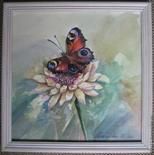 """Пейзаж ручной работы. Ярмарка Мастеров - ручная работа. Купить Картина """"Бабочка павлиний глаз"""". Handmade. Рамка, хороший подарок"""