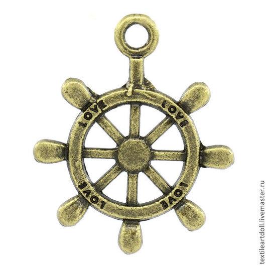 Для украшений ручной работы. Ярмарка Мастеров - ручная работа. Купить К02445 Подвеска Штурвал морской античная бронза. Handmade.