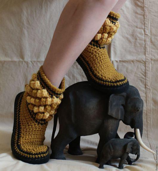 Обувь ручной работы. Ярмарка Мастеров - ручная работа. Купить Тапочки-сапожки  Растет ли горчица в Африке?...;). Handmade.