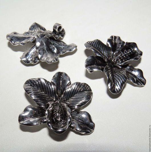 """Для украшений ручной работы. Ярмарка Мастеров - ручная работа. Купить Подвеска """"Цветок орхидеи"""" 42 х 36 х 11 мм. серебро.. Handmade."""
