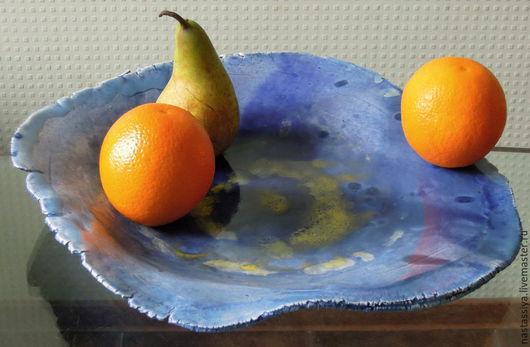 Тарелки ручной работы. Ярмарка Мастеров - ручная работа. Купить Блюдо для фруктов. Handmade. Синий, авторская керамика, глазури