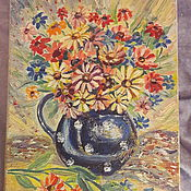 Картины ручной работы. Ярмарка Мастеров - ручная работа Картины: ромашки в синей вазе в горошек. Handmade.