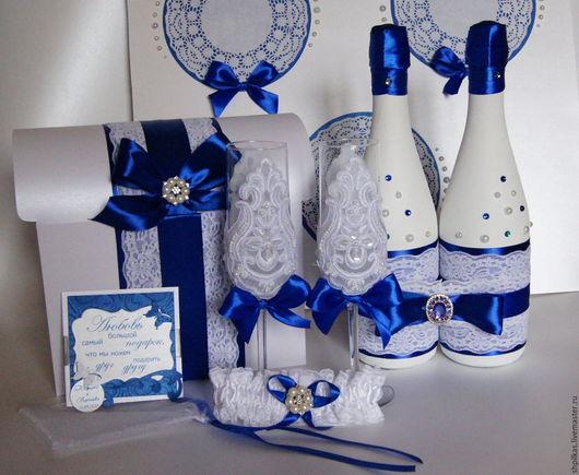 """Свадебные аксессуары ручной работы. Ярмарка Мастеров - ручная работа. Купить Свадебный набор """"Аквамарин-2"""". Handmade. Синий"""