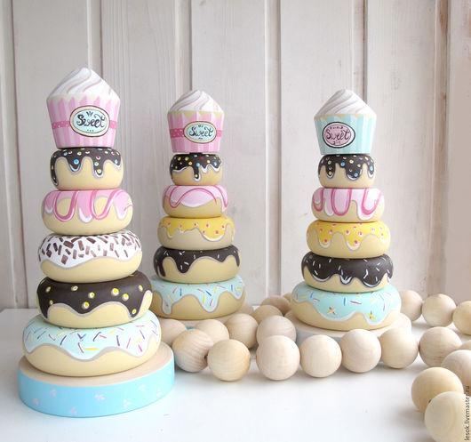 """Развивающие игрушки ручной работы. Ярмарка Мастеров - ручная работа. Купить Пирамидка """" sweet"""". Handmade. Бледно-розовый"""