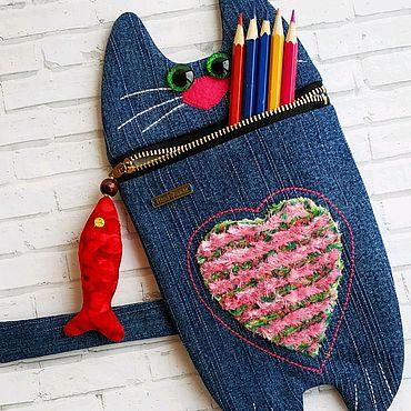 Канцелярские товары ручной работы. Ярмарка Мастеров - ручная работа Пенал котик. Handmade.
