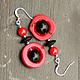 серьги серьги с кораллом красно-черные серьги серьги китайский квартал