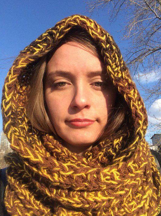 Капюшоны ручной работы. Ярмарка Мастеров - ручная работа. Купить Женский шарф-капюшон Осень золотая. Handmade. Коричневый