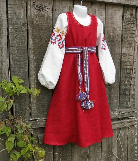 Одежда ручной работы. Ярмарка Мастеров - ручная работа. Купить Русский костюм для девочки-1. Handmade. Ярко-красный