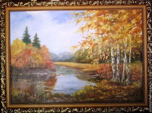 """Пейзаж ручной работы. Ярмарка Мастеров - ручная работа. Купить картина маслом  """"Теплая осень"""". Handmade. Пейзаж, ручная работа"""
