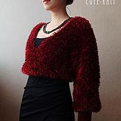 Одежда handmade. Livemaster - original item Red knitted Bolero with ties. Handmade.