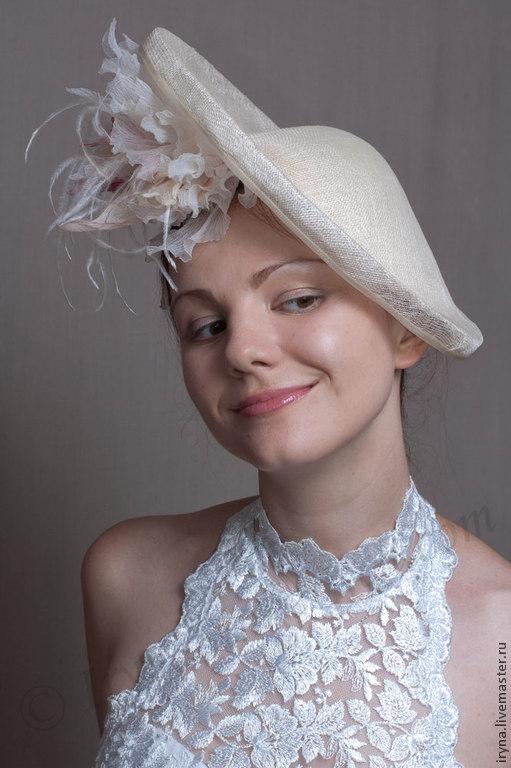 """Шляпы ручной работы. Ярмарка Мастеров - ручная работа. Купить Шляпка из соломки для скачек  """"Полнолуние"""". Handmade. Скачки, шелковые цветы"""