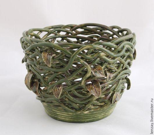 Кашпо `Болотная нимфа`. Плетеная керамика и керамические цветы Елены Зайченко