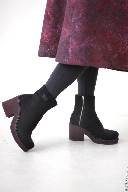 Обувь ручной работы. Ярмарка Мастеров - ручная работа. Купить Ботильоны из войлока