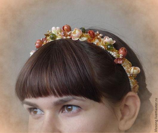 """Диадемы, обручи ручной работы. Ярмарка Мастеров - ручная работа. Купить ободок """"Один осенний день"""" с цветами, бусинами и камнями. Handmade."""