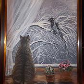 """Картины и панно ручной работы. Ярмарка Мастеров - ручная работа Картина маслом """"Про кота и ворону"""". Handmade."""