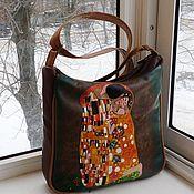 Сумки и аксессуары handmade. Livemaster - original item Bag leather women`s hand painted Kiss Gustav Klimt. Handmade.