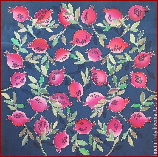 Шелковый платок `Гранатовое настроение` `Пусть в вашем доме будет столько счастья, сколько зёрен в гранате`