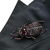 Украшения handmade. Livemaster - original item Brooch beetle bead. Purple scarab beetle. Handmade.