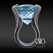 Украшения handmade. Livemaster - original item Ring with a large Topaz Rose de France and CZ. 925 sterling silver.. Handmade.