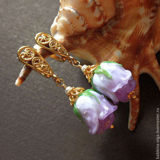 Серьги ручной работы. Ярмарка Мастеров - ручная работа. Купить Позолоченные серьги Neptune, позолота, lampwork. Handmade. Сиреневый