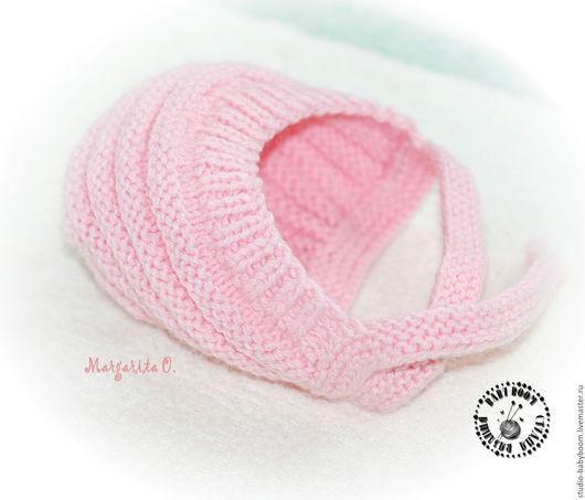 Для новорожденных, ручной работы. Ярмарка Мастеров - ручная работа. Купить Шапочка - чепчик для новорожденного. Handmade. Розовый, шапочка вязаная