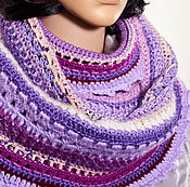 Аксессуары ручной работы. Ярмарка Мастеров - ручная работа Снуд-шарф вязаный фантазийный, фиолетовый+сиреневый+песочный. Handmade.