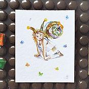 Картины и панно ручной работы. Ярмарка Мастеров - ручная работа Улиточка - картина акварелью. Handmade.