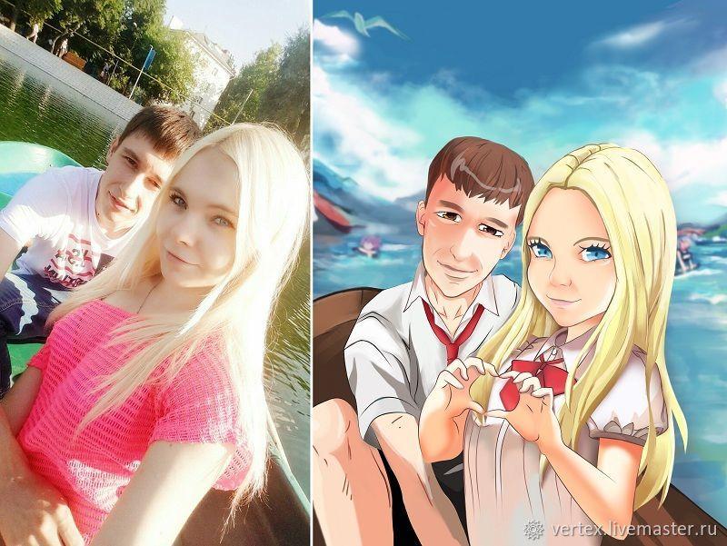 Цифровой портрет в аниме стиле, Фотокартины, Воронеж,  Фото №1