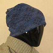Аксессуары ручной работы. Ярмарка Мастеров - ручная работа шапка бини Синие ромбы. Handmade.