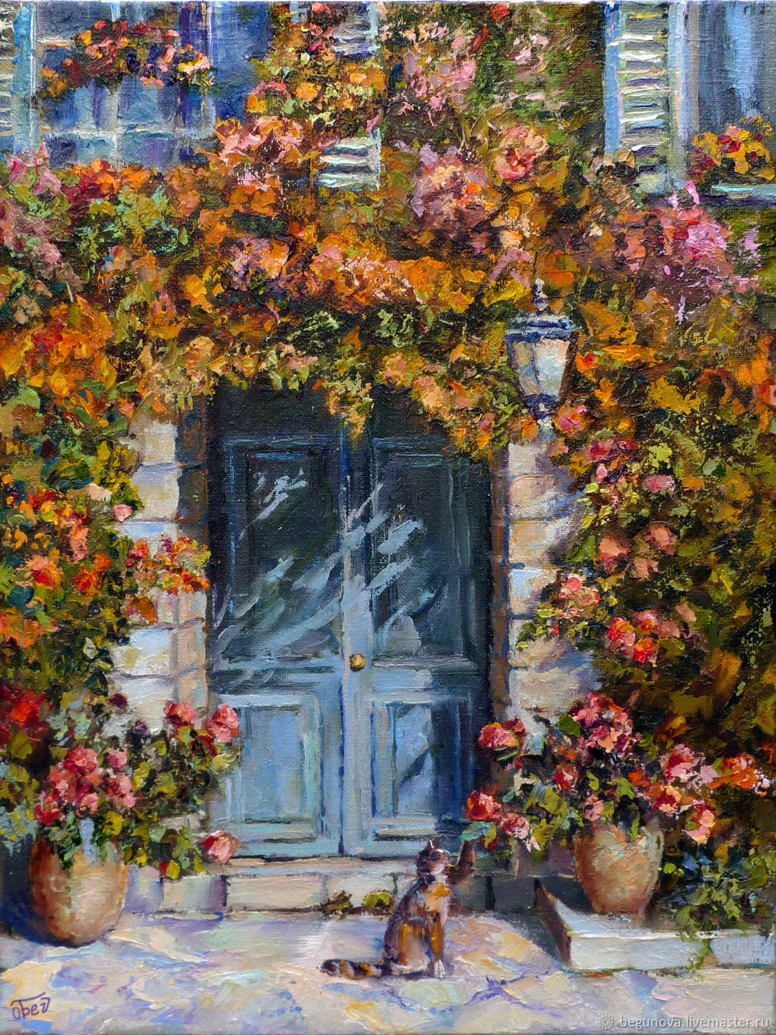 Oil painting on canvas Provence South courtyard, landscape with flowers, Pictures, Krasnodar,  Фото №1