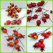 Элементы декора ручной работы. Ярмарка Мастеров - ручная работа Шиповник на проволоке 3 вида, ягоды на проволоке. Handmade.