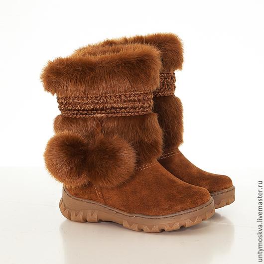 Обувь ручной работы. Ярмарка Мастеров - ручная работа. Купить Унты детские ( для девочек) уд57. Handmade. Обувь
