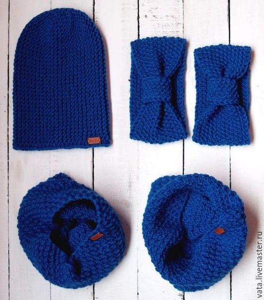вязаный комплект в стиле family look, вязаная шапка и снуд, вязаная повязка, вязаный комплект на осень, вязаный комплект ручной работы