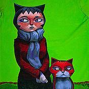 """Одежда ручной работы. Ярмарка Мастеров - ручная работа Футболка """"Кошки"""". Handmade."""