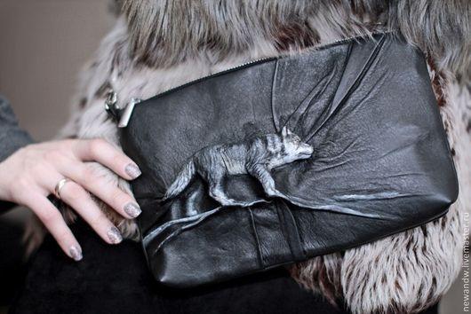 """Женские сумки ручной работы. Ярмарка Мастеров - ручная работа. Купить 3D Сумка из натуральной кожи """"Серый волк"""". Handmade."""