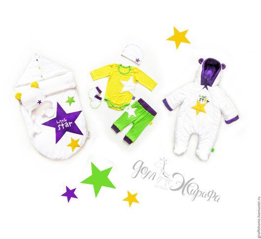 """Для новорожденных, ручной работы. Ярмарка Мастеров - ручная работа. Купить Комплект на выписку и для прогулок """"Ярче звезды"""". Handmade. Комбинированный"""