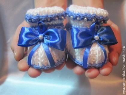 Для новорожденных, ручной работы. Ярмарка Мастеров - ручная работа Пинетки для мальчика. Handmade.