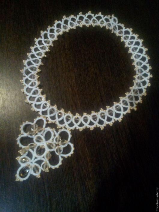 Кулоны, подвески ручной работы. Ярмарка Мастеров - ручная работа. Купить Ожерелье. Handmade. Белый, плетение, капля, бисер