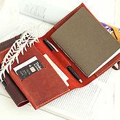 Канцелярские товары handmade. Livemaster - original item notebooks: Holder for documents Red leather notebook passport sketches. Handmade.