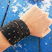 Украшения handmade. Livemaster - original item Wide bracelet made of leather Strips with rings. Handmade.